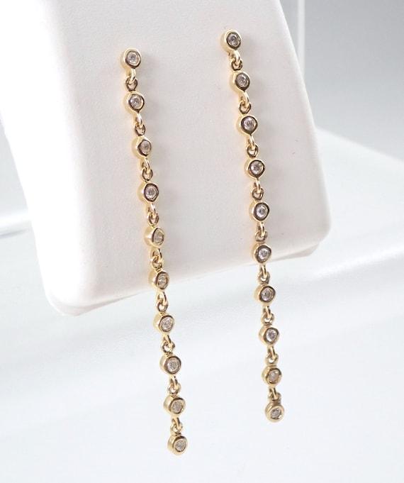 Yellow Gold Diamond Dangle Drop Earrings Wedding Gift Unique Bezel Set