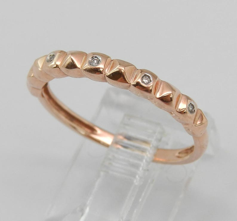 Size 6.75 Anniversary Band Stackable Band SALE PRICE Diamond Wedding Ring Rose Gold Ring Textured Ring