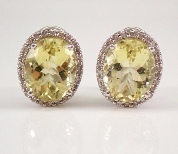14K White Gold 7.43 ct Diamond and Lemon Quartz Halo Earrings Omega Clip