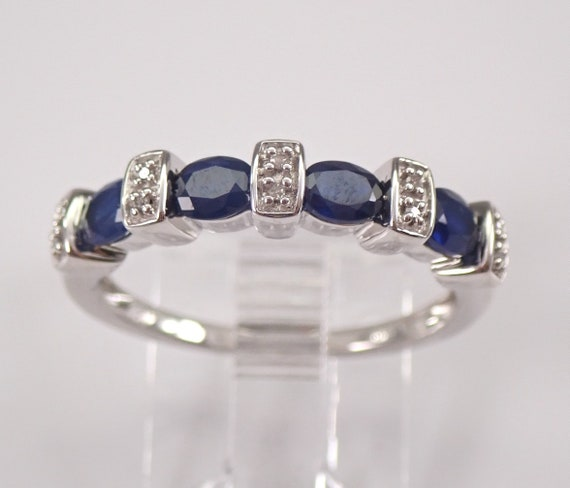 Diamond and Oval Sapphire Wedding Ring Anniversary Band White Gold Size 7