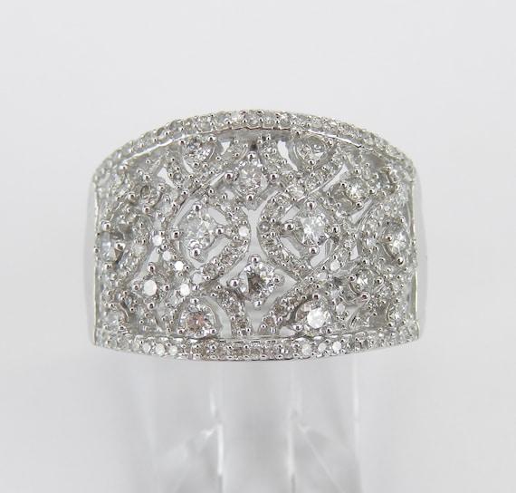 Diamond Cluster Ring, Diamond Wedding Ring, Anniversary Cocktail Band, 14K White Gold Diamond Band, Size 7