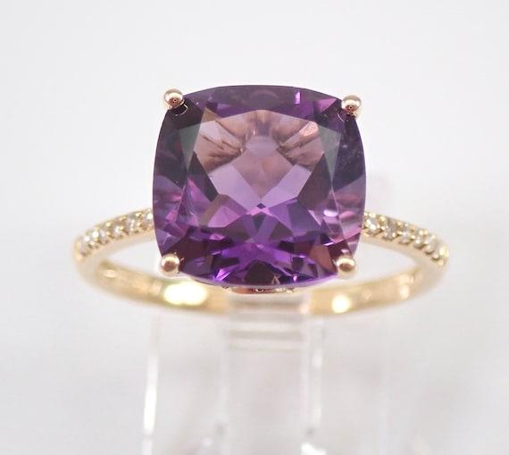 14K Yellow Gold Diamond and Cushion-Cut Amethyst Engagement Ring Size 7 February Gemstone FREE Sizing