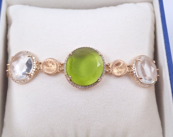 14K Pink Gold 11.20 ct Peridot Rose Quartz and Diamond Halo Tennis Bracelet Double Chain