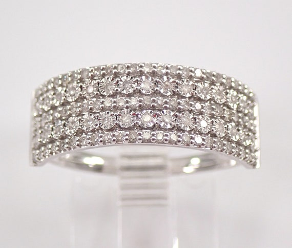 Diamond Wedding Ring Anniversary Cigar Band Stackable Look 14K White Gold Size 7 FREE Sizing