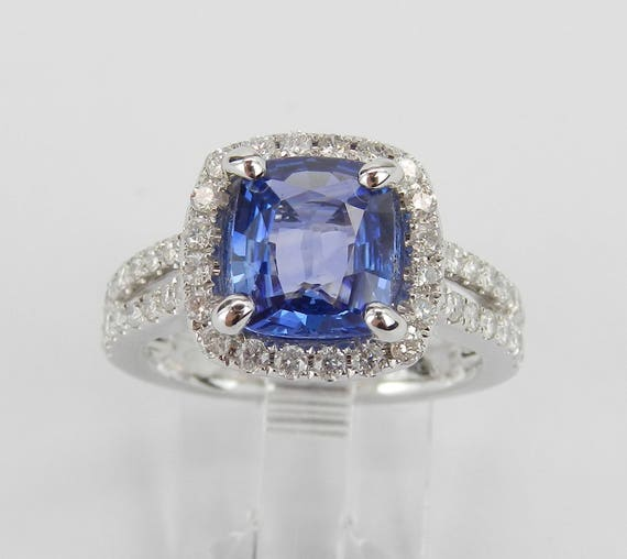 3.34 ct Diamond and Cushion Cut Ceylon Sapphire Halo Engagement Ring 14K White Gold Size 6.5