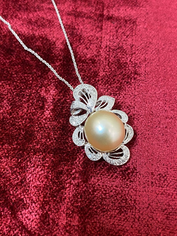 Diamond and 12.5 mm Golden South Sea Pearl Necklace Pendant Chain 18K White Gold 18""
