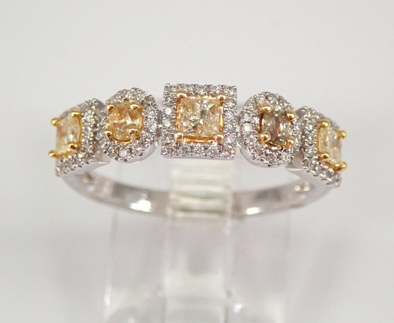 Fancy Yellow Canary Princess Cut and Oval Diamond Wedding Ring Anniversary Band 18K Gold Size 6.5 FREE Sizing