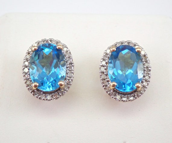 Blue Topaz and Diamond Stud Earrings Halo Studs 14K Yellow Gold December Birthstone