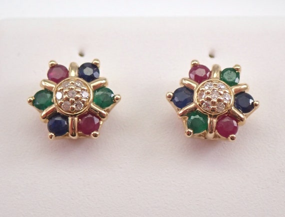 Sapphire Emerald Ruby and Diamond Stud Earrings Cluster Multi Color Studs