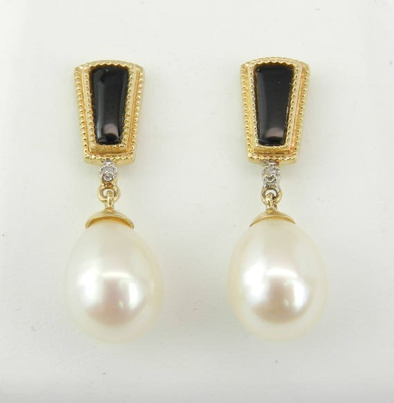 SALE Pearl Black Onyx Diamond Dangle Drop Earrings 14K Yellow Gold June Birthday Wedding