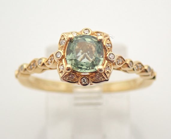 Yellow Gold Green Sapphire and Diamond Halo Engagement Ring Promise Ring Size 7 FREE Sizing