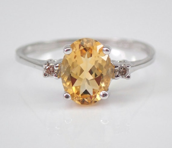 White Gold Diamond and Citrine Engagement Promise Ring Size 6.75 November Gemstone