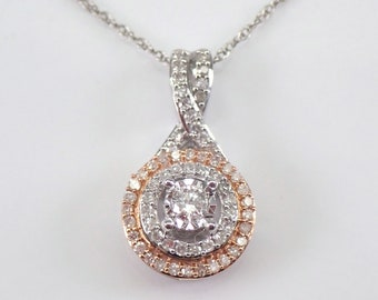 """Diamond Cluster Double Halo Pendant White and Rose Gold Necklace 18"""" Chain"""