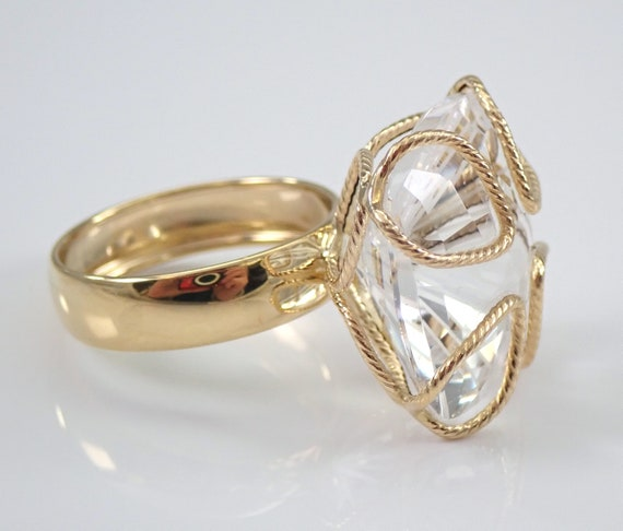 Estate 14K Yellow Gold Cushion Cut Quartz Ring Size 7 Made in ITALY by MILOR