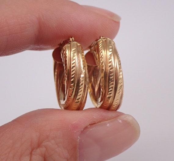 Estate Vintage 14K Yellow Gold Hoop Earrings Hoops Graduation Gift