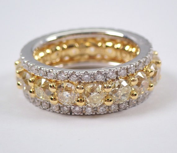 5.48 ct Fancy Yellow CANARY Diamond Eternity Wedding Ring Wide Anniversary Band 18K White Gold Size 6.5