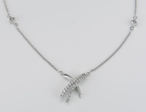 Diamond Necklace, Diamond Hugs Kisses Pendant, White Gold Chain, Wedding Gift, Bridesmaid Gift