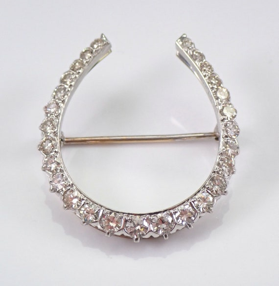Vintage Estate 14K White Gold 2.50 ct Diamond HORSESHOE Brooch Pin Circa 1950's