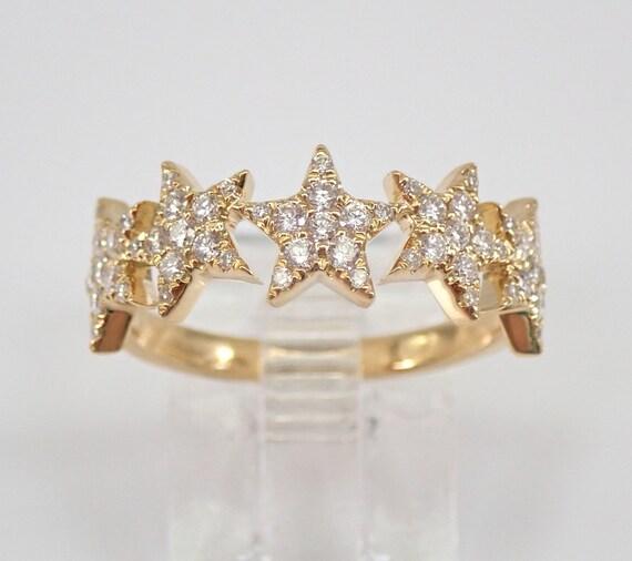 18K Yellow Gold Diamond STAR Wedding Band Anniversary Ring Size 6.75 FREE Sizing