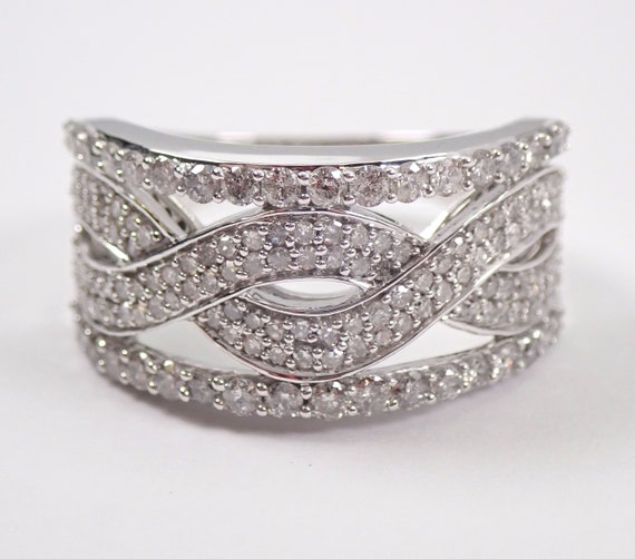 White Gold Diamond Anniversary Ring Multi Row Stackable Wedding Band Size 7
