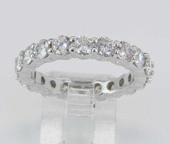 2.87 ct Diamond Eternity Ring, Diamond Wedding Ring, Diamond Anniversary Band, 18K White Gold Eternity Ring, Size 7