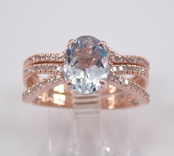 Diamond and Aquamarine Engagement Ring Wedding Band Aqua Set Rose Gold Size 7 March Birthstone FREE Sizing