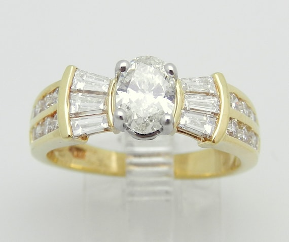 1.57 ct Diamond Engagement Ring Oval Brilliant 18K Yellow Gold Natural
