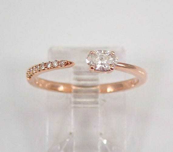 Rose Gold Oval Diamond Wraparound Engagement Ring Size 6.5 H VS Minimalist Jewelry FREE Sizing