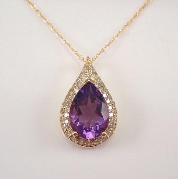 "Diamond and Amethyst Halo Pendant Teardrop Necklace 14K Yellow Gold 18"" Chain February Birthstone"