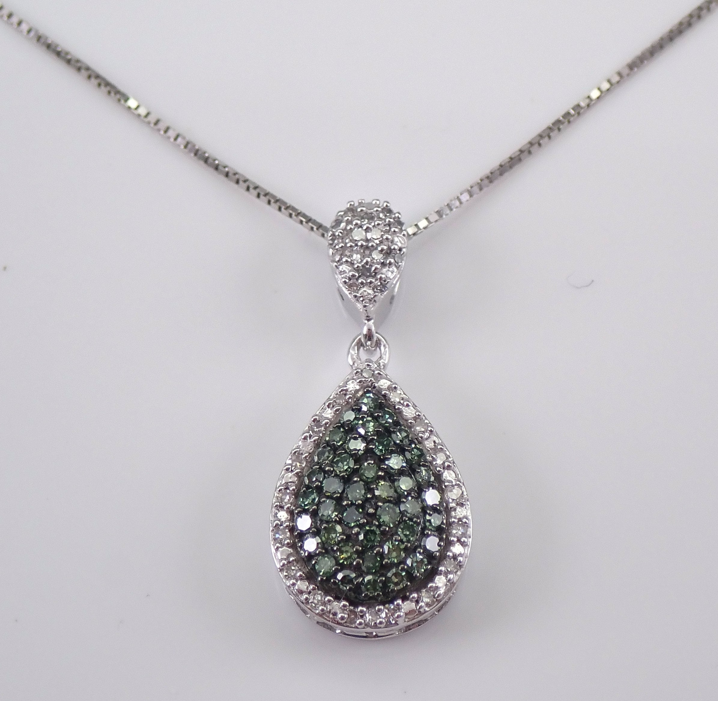Fancy Green And White Diamond Halo Cluster Pendant Teardrop Necklace 18 Gold Chain