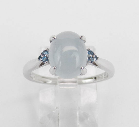 White Gold Chalcedony and Blue Topaz Engagement Promise Ring Size 7