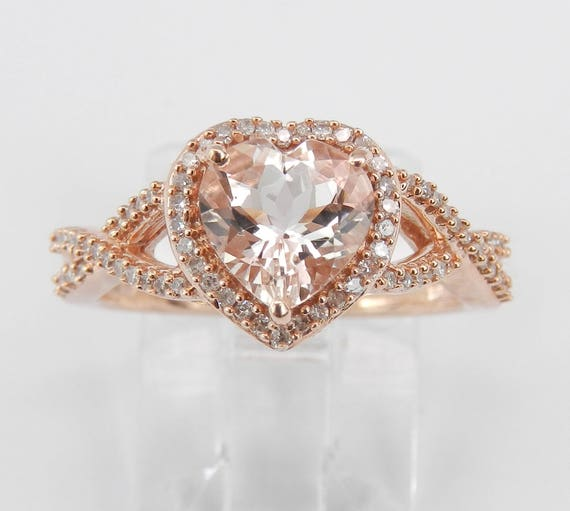 Heart Morganite and Diamond Halo Engagement Ring Rose Gold Size 8