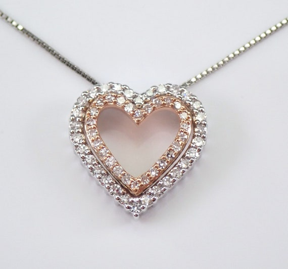 "14K White and Rose Gold Diamond Heart Pendant Necklace 18"" Chain Wedding Gift Graduation Gift Present"