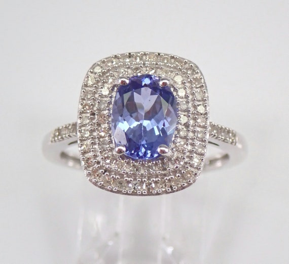 White Gold Tanzanite and Diamond Double Halo Engagement Ring Size 7.25 December Gemstone