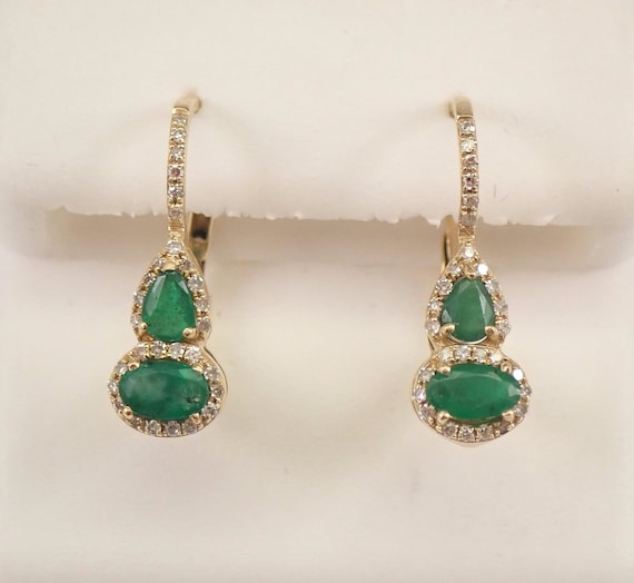 14K Yellow Gold Diamond and Emerald Halo Drop Earrings May Birthday FREE SHIPPING
