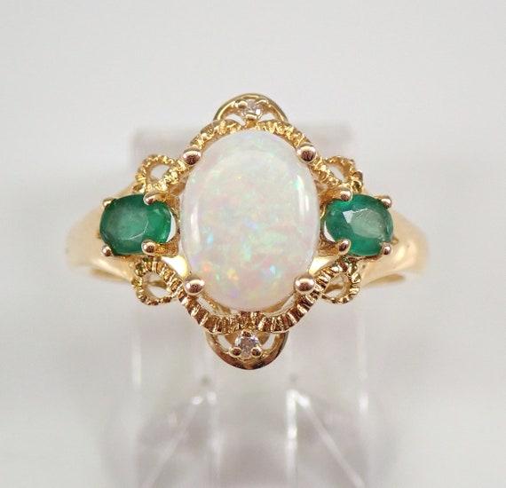 Opal Diamond Emerald Three Stone 14K Yellow Gold Engagement Ring Size 7 FREE Sizing