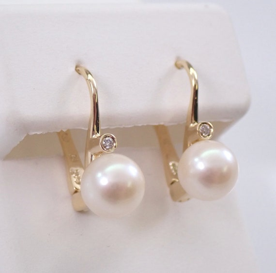 Pearl and Diamond Drop Earrings 14K Yellow Gold European Clasp June Birthday