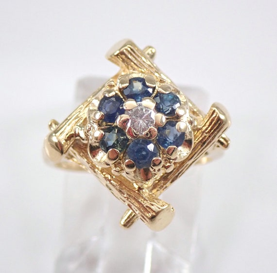 14K Yellow Gold Diamond and Sapphire Cluster Ring Size 3.5 Vintage Jewelry FREE Sizing