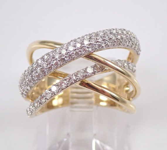 14K Yellow Gold Diamond Anniversary Ring Multi Row Crossover Wedding Band Size 7.5