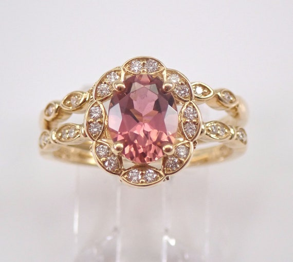 Pink Tourmaline and Diamond Engagement Ring Wedding Band Set 14K Yellow Gold Size 7 FREE Sizing