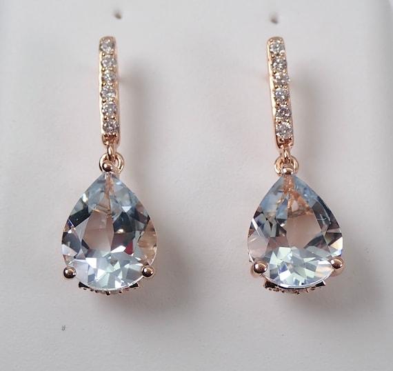 Diamond and Aquamarine Dangle Teardrop Earrings Rose Pink Gold Aqua March Gemstone