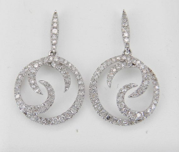Diamond Earrings Dangle Drop Circle Earrings 14K White Gold Wedding Gift