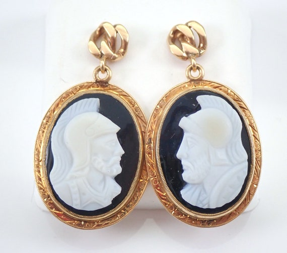 Vintage Antique 14K Yellow Gold Onyx Cameo Intaglio Dangle Earrings Estate Jewelry