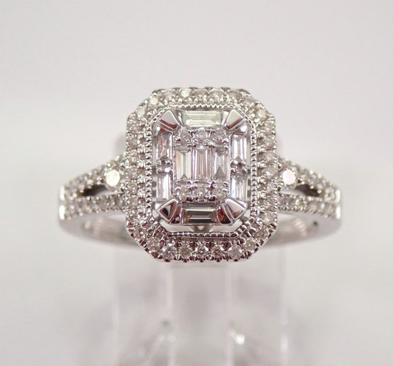White Gold Emerald Cut Diamond Halo Engagement Ring Cluster Solitaire Size 7.25