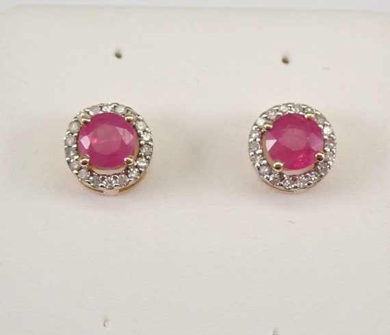 Ruby and Diamond Stud Earrings Halo Studs Yellow Gold July Birthstone