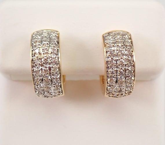 14K Yellow Gold Diamond HUGGIE Hoop Earrings Diamond Hoops Perfect Gift