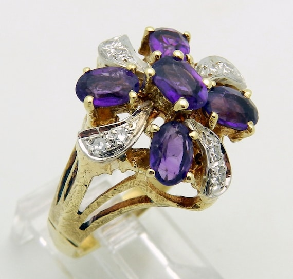 Diamond and Amethyst Cocktail Ring 14K Yellow Gold Vintage Estate Ring 2.62 ct Size 7.5