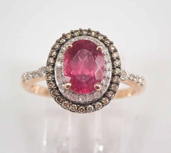 Rubelite and Diamond Halo Engagement Ring Fancy Diamonds Rose Gold Size 7 FREE SIZING