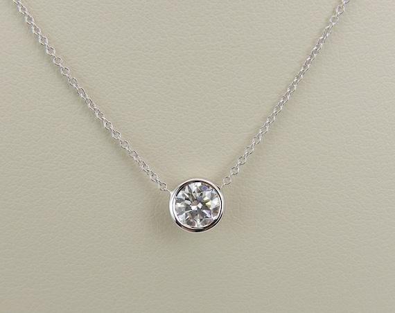 """14K White Gold Diamond Solitaire Pendant Bezel Set Necklace 18"""" Chain"""