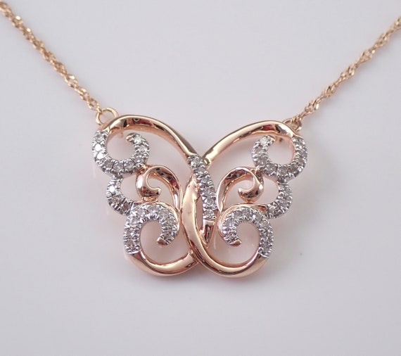 "Rose Gold Diamond Butterfly Pendant Necklace 18"" Chain Filigree Wedding Gift"